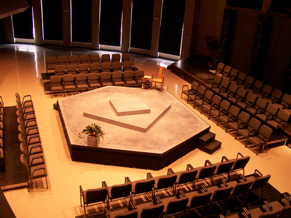 The DWU Sherman Center set up as a theater in the round