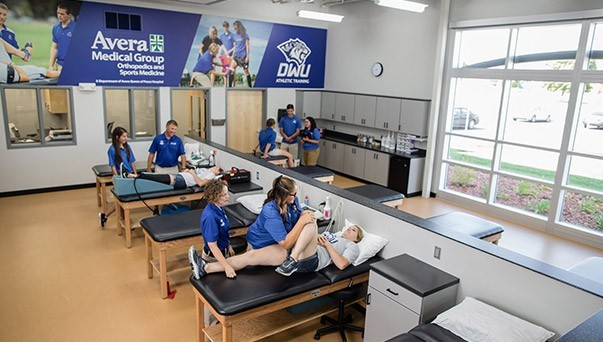The interior of the DWU athletic training facility