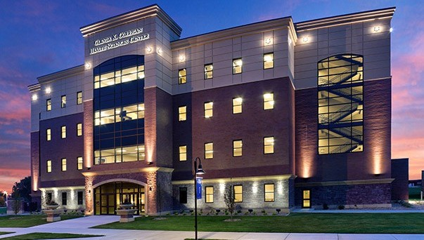 The Glenda K. Corrigan Health Sciences Center at night