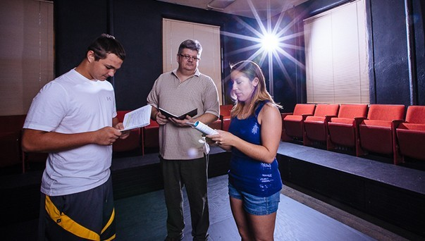 A director directing two actors