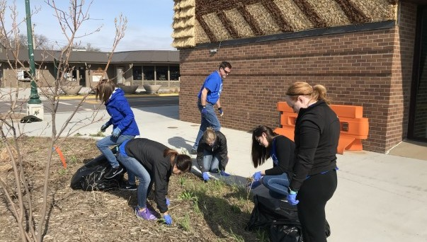 Students participating in a service activty
