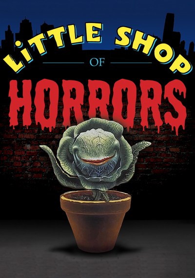 A poster for the play Little Shop of Horrors. A plant with a mouth.
