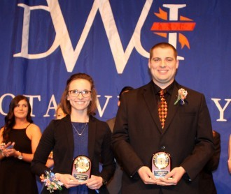 Ariana Arampatzis and Andrew Schwader, seniors at Dakota Wesleyan University, were named Miss Wesleyan and Scotchman.