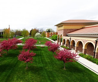 DWU campus in springtime, looking west toward Sherman Center and McGovern Library with pink flowering trees.