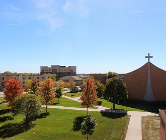 Photo of DWU campus facing Allen Hall, Corrigan Science Center, Sherman Center