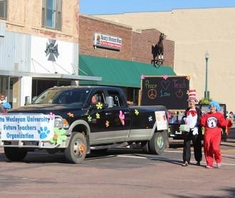 DWU's Future Teachers Organization walks in the 2015 homecoming parade.