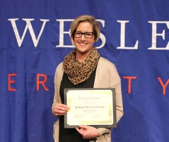 Dr. Bethany Melroe-Lehrman, associate professor of chemistry at DWU, was the recipient of this year's Exemplary Teacher Award.