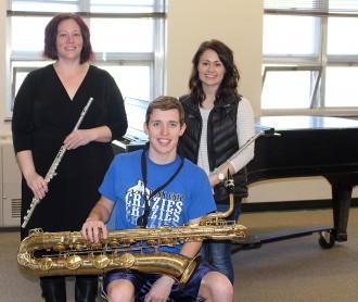 Mellissa Spitzer, Rheanna Pheifer and Bryce Blank, DWU's 2017 South Dakota Intercollegiate Band performers.