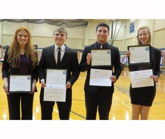 Science fair senior grand prize winners: Emma Heezen and Noah Heezen, Alexander Rodriguez, and Thea Patrick.