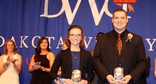 Ariana Arampatzis and Andrew Schwader, seniors at Dakota Wesleyan University, were named Miss Wesleyan and Scotchman.