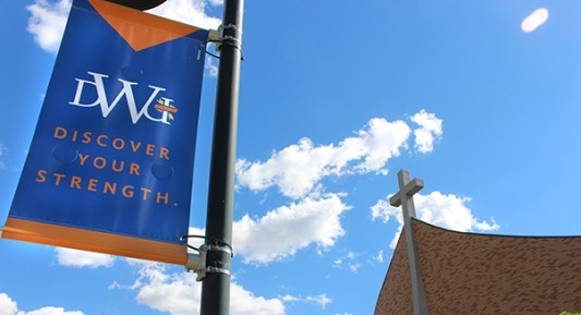 "Image of DWU Sherman Center and ""Discover Your Strength"" banner"