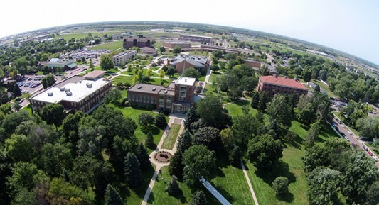 Aerial photograph of Dakota Wesleyan campus.