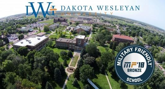 Aerial of Dakota Wesleyan University with Military Friendly bronze 2018 badge