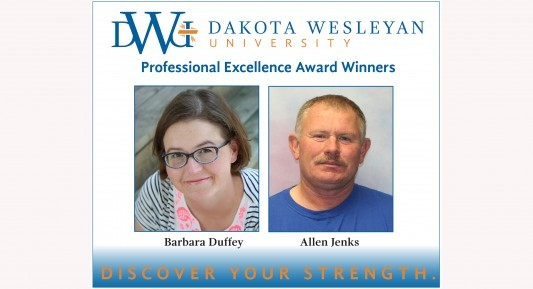 Dr. Barbara Duffey and Allen Jenks are awarded the spring Professional Excellence Awards for faculty and staff.