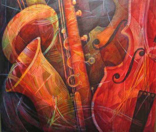 Artist illustration of saxophone and cello.