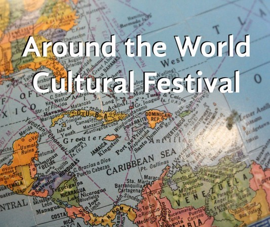 "Image of a world globe with text: ""Around the World Cultural Festival"""