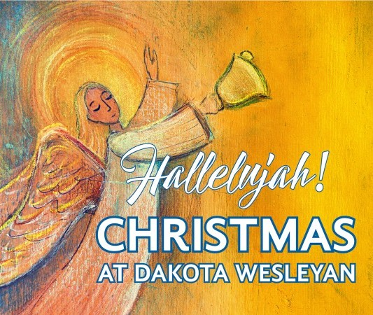 Christmas at Dakota Wesleyan graphic of an angel
