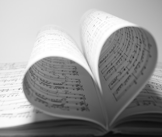 Stock photography of sheet music in shape of a heart.