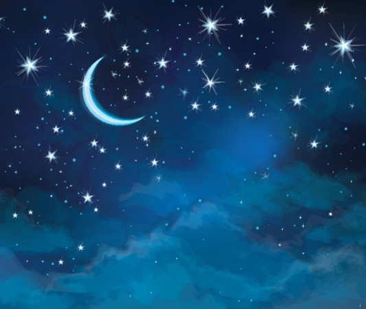 Illustration of night sky with crescent moon