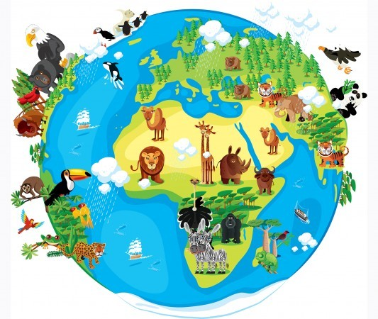 Illustration of Earth, covered with animals.