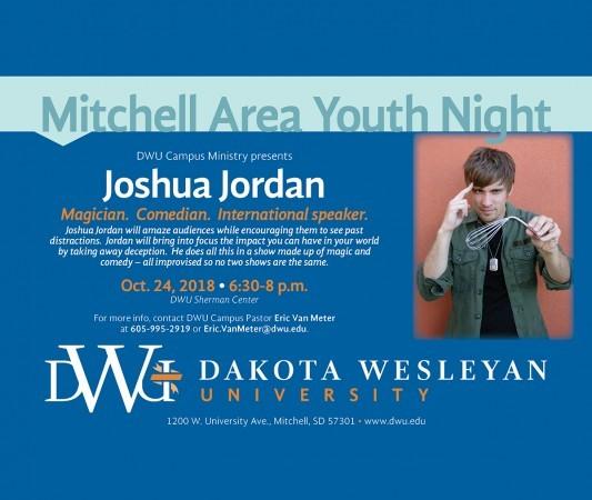 Mitchell Area Youth Night postcard with image of Joshua Jordan