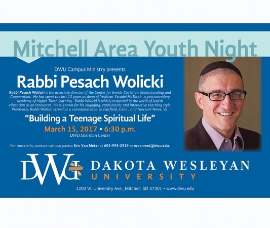 Mitchell Area Youth Night, March 15, 2017, Sherman Center, with Rabbi Pesach Wolicki.