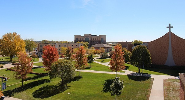 Dakota Wesleyan campus showing Allen Hall, the Corrigan Science Center and Sherman Center.