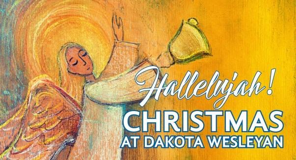 Christmas at Dakota Wesleyan graphic of an angel