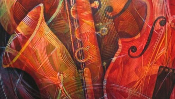 Artist illustration of musical instruments.