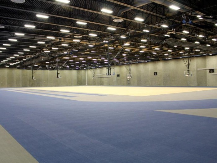 Interior track and gym in the Sports and Wellness Complex